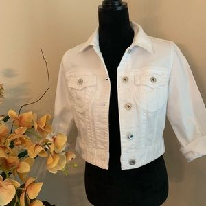 CHICO'S White Cropped Denim Jacket
